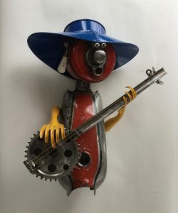 Whimsical metal sculpture by John Jackson