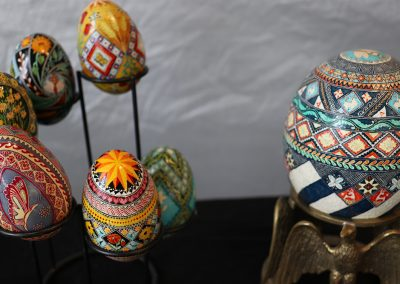 Intricate, colorful, and detailed hand-painted pysanky eggs