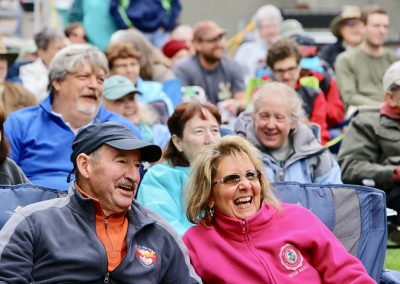 A smiling crowd enjoys the music at the Colorscape Chenango Arts Festival