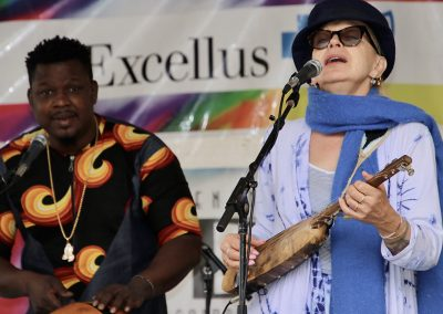Two musicians perform at the Colorscape Chenango Arts Festival