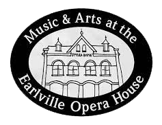 Black and white line drawing of the front of the Earlville Opera House with the words Music & Arts at the Earlville Opera House